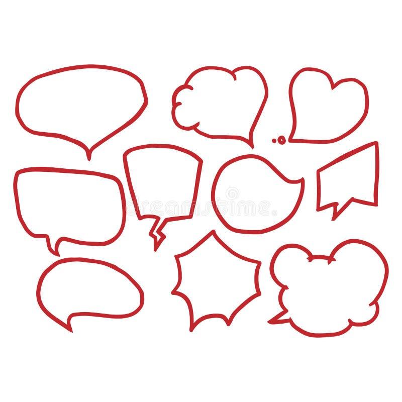 Vector set of comic speech bubbles. Hand drawn set of comic quotes balloons. Vector set of comic speech bubbles. Hand drawn set of comic quotes balloons vector illustration