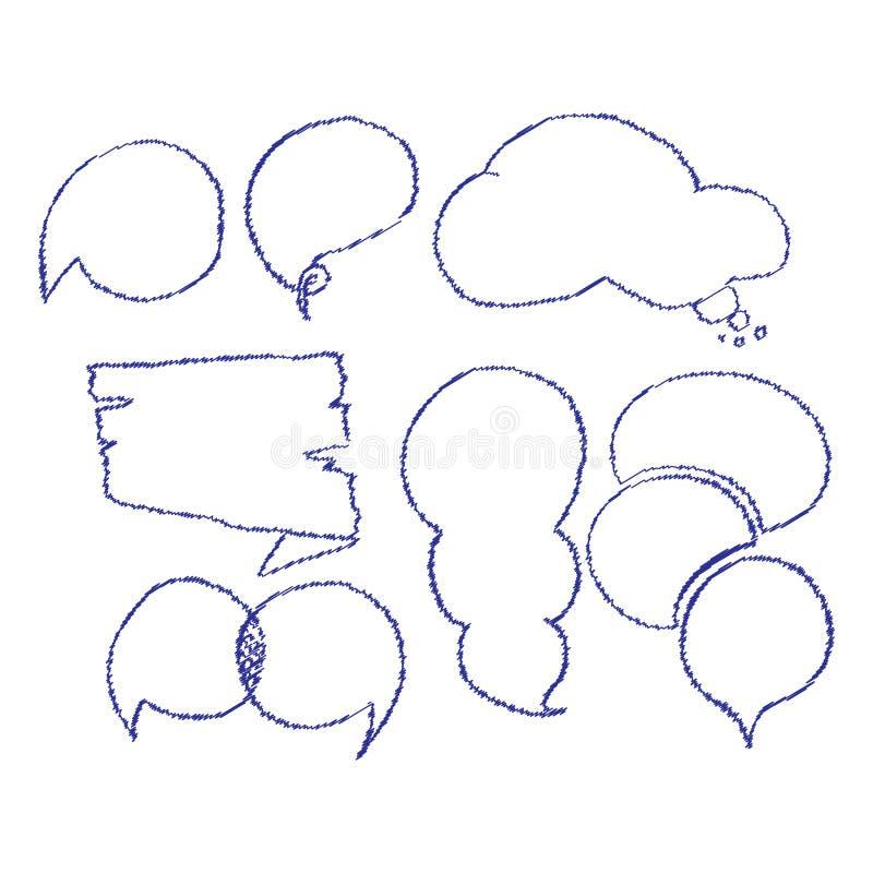 Vector set of comic speech bubbles. Hand drawn set of comic quotes balloons. Vector set of comic speech bubbles. Hand drawn set of comic quotes balloons royalty free illustration