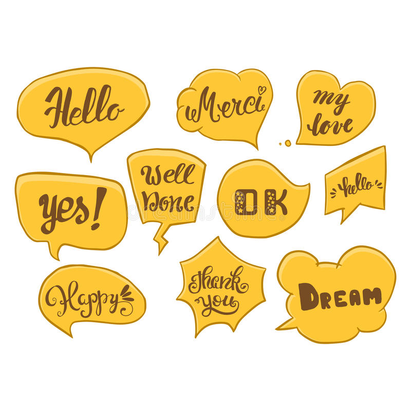 Vector set of comic speech bubbles. Hand drawn set of comic quotes balloons with text. Vector set of comic speech bubbles. Hand drawn set of comic quotes stock illustration