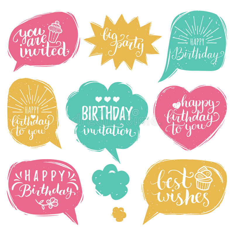 Vector set of comic speech bubbles with happy birthday inscription download vector set of comic speech bubbles with happy birthday inscriptions calligraphy set for bookmarktalkfo Choice Image