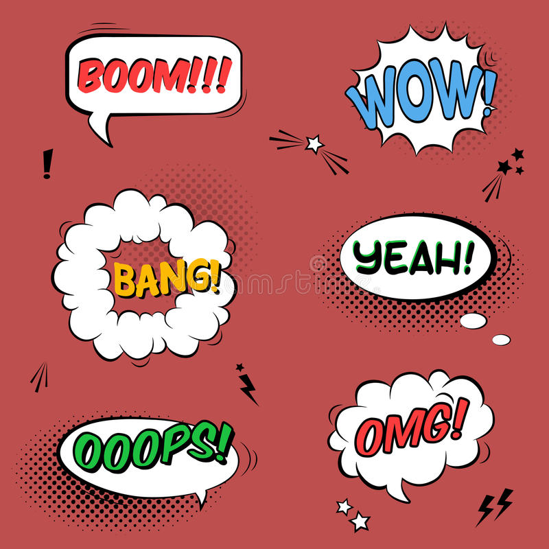 Vector set with comic speech bubbles with sound effects, stars royalty free illustration