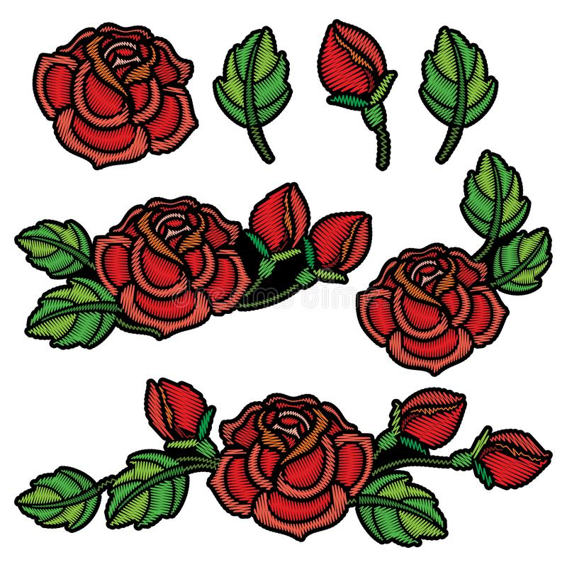 Vector set with composition of embroidery red Rose flower, bud and green leaves isolated. Floral patch with embroidered roses. royalty free illustration
