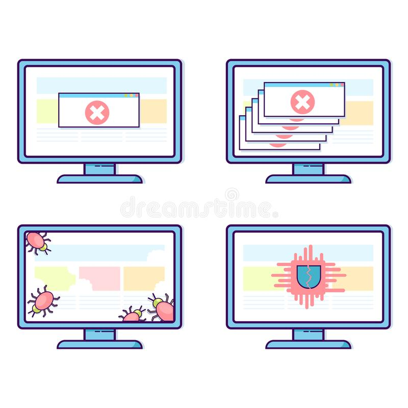 Vector set of computers with different security problems: viruses, fatal crashes, trojans. Flat line design illustration isolated on white background stock illustration