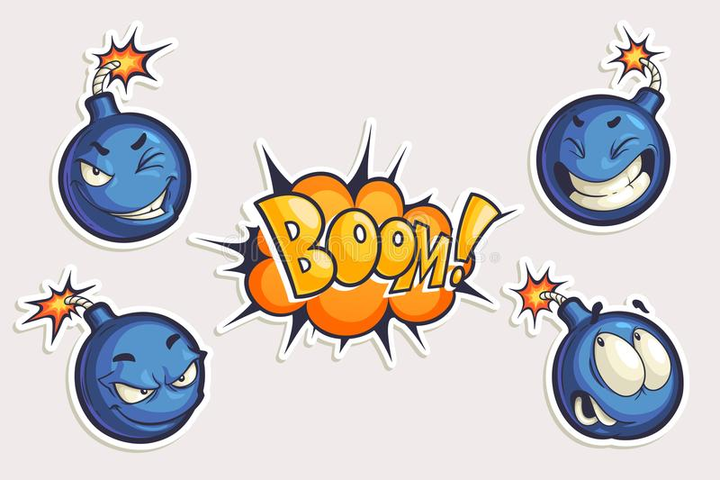 Vector set of cool stickers with cartoon bombs and Boom lettering. Hand drawn funny characters in different emotions in comics st. Yle isolated on white stock illustration