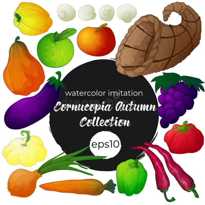 Vector set with cornucopia and vegetables stock illustration