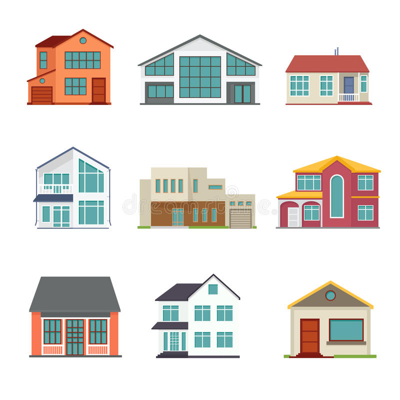 Vector Set Of Cottage Building Flat Icons Stock Vector ...