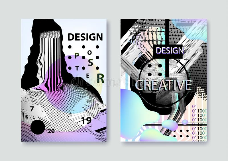 Vector set of covers templates with bauhaus and memphis graphic geometric glitch, fluid and liquid elements. Use for vector illustration