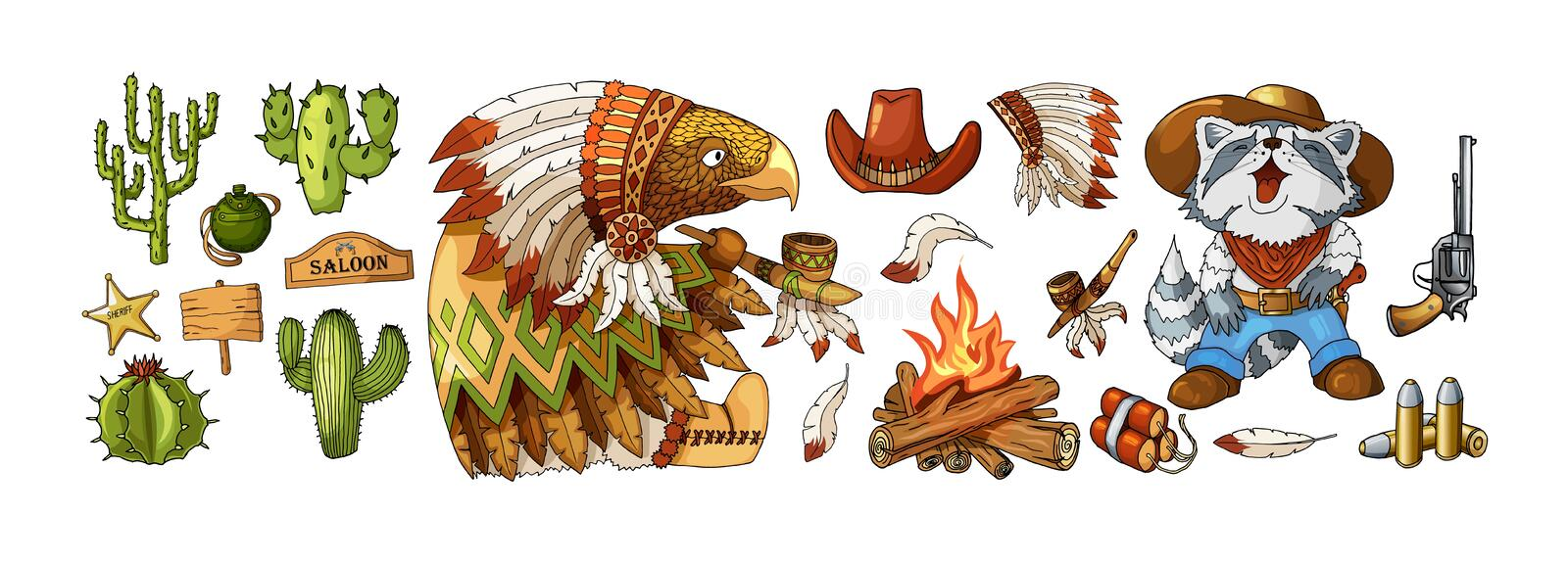 Vector Set Cowboy and Wild West Labels and Sticker Elements in Cartoon Style royalty free illustration