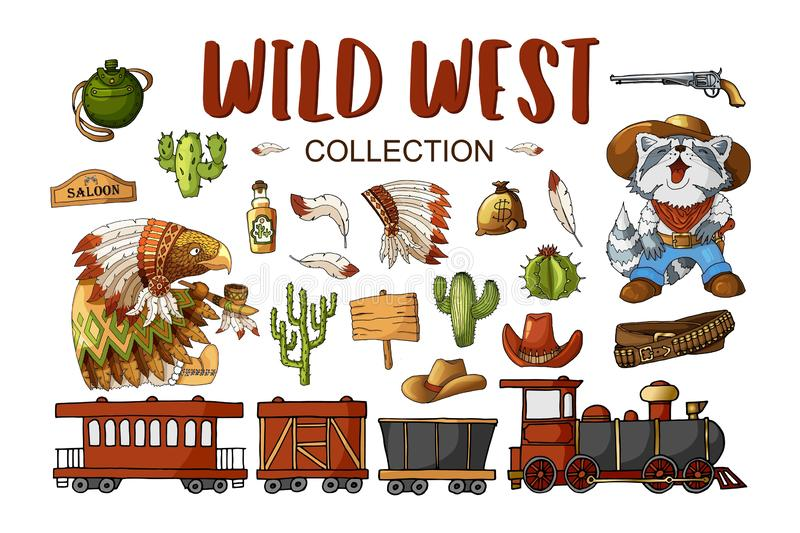 Vector Set Cowboy and Wild West Labels and Sticker Elements in Cartoon Style stock illustration