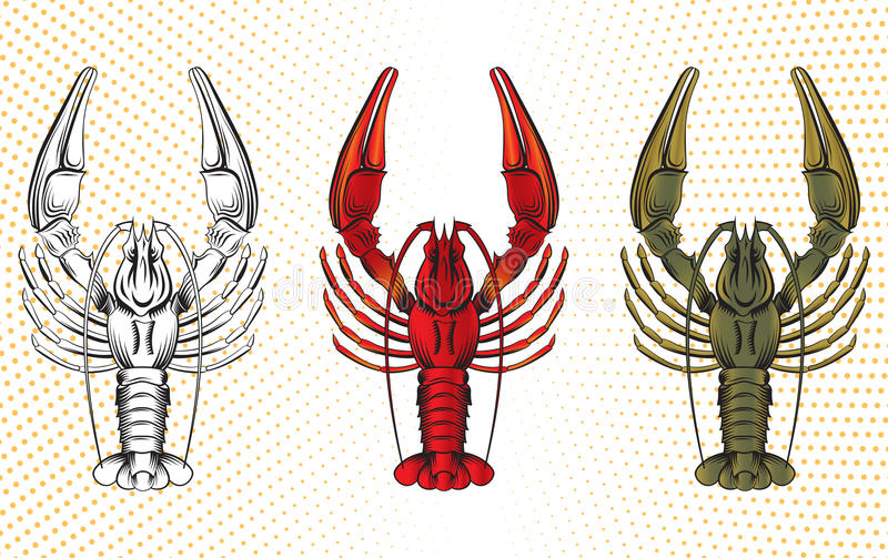 Vector set of crawfish vector illustration