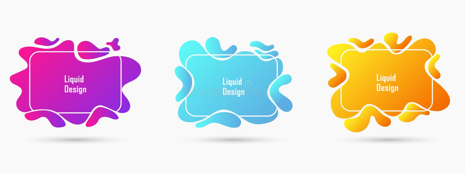 Vector set of creative geometric liquid style simple forms, isolated mockup template frames or borders royalty free illustration