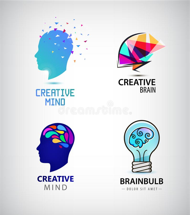 Vector set of creative mind, brainstorm, brain logos stock illustration