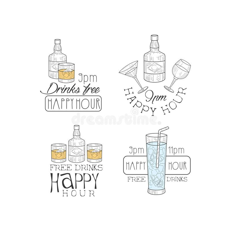 Vector set of 4 creative promotion signs for cocktail bar or restaurant. Hand drawn emblems with alcoholic drinks. Happy stock illustration