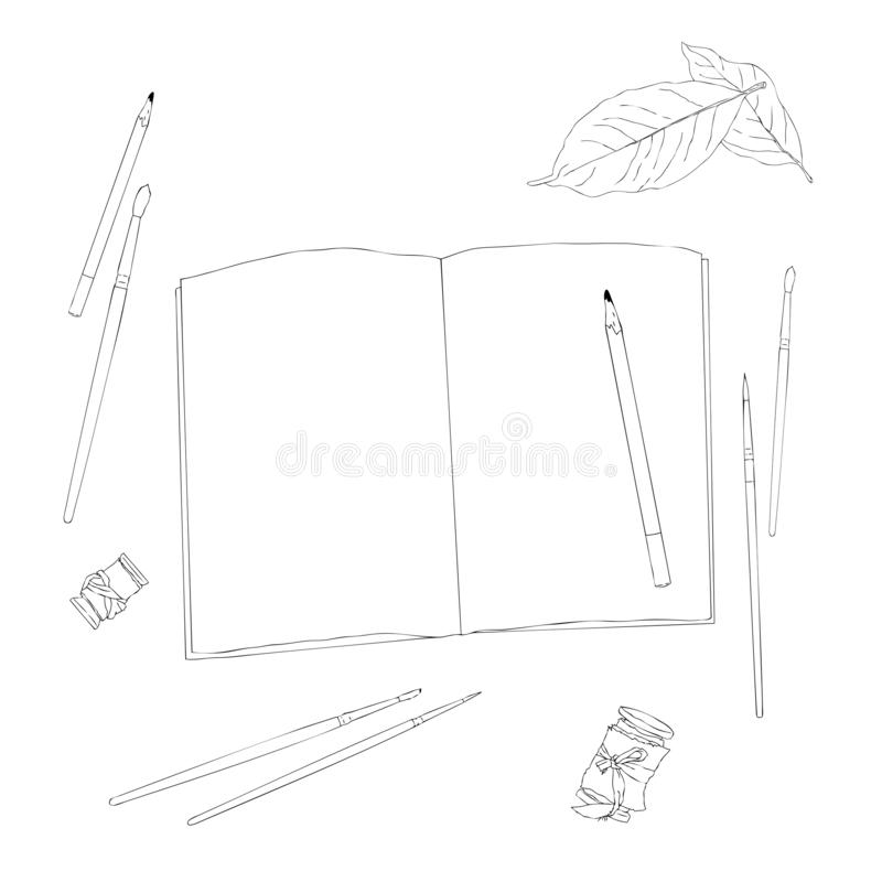 Vector set of creative working tools notebook, pen, tapes, brushes. Office desk . Business. Top view . Workplace stock illustration
