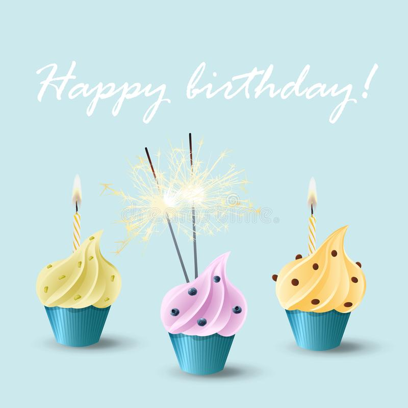Vector set of cupcakes with different flavors and decoration, burning candles and bengal lights sparklers. Happy birthday stock illustration