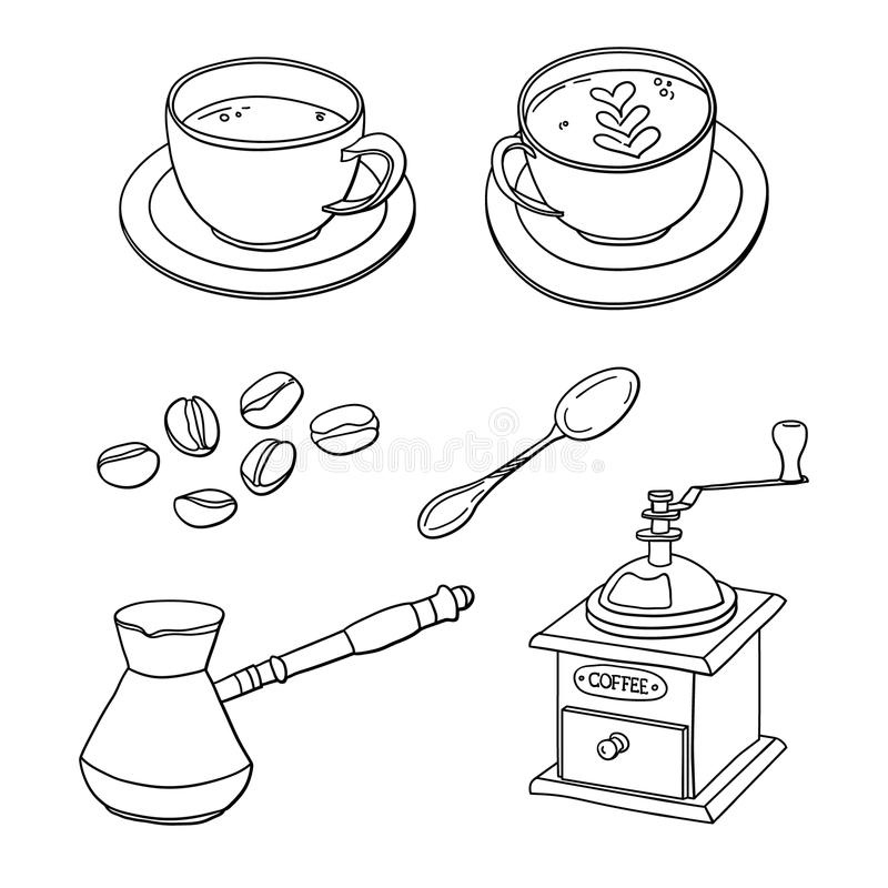 Vector set with cups of coffee, coffee beans, coffee maker, coffee grinder, spoon.  vector illustration