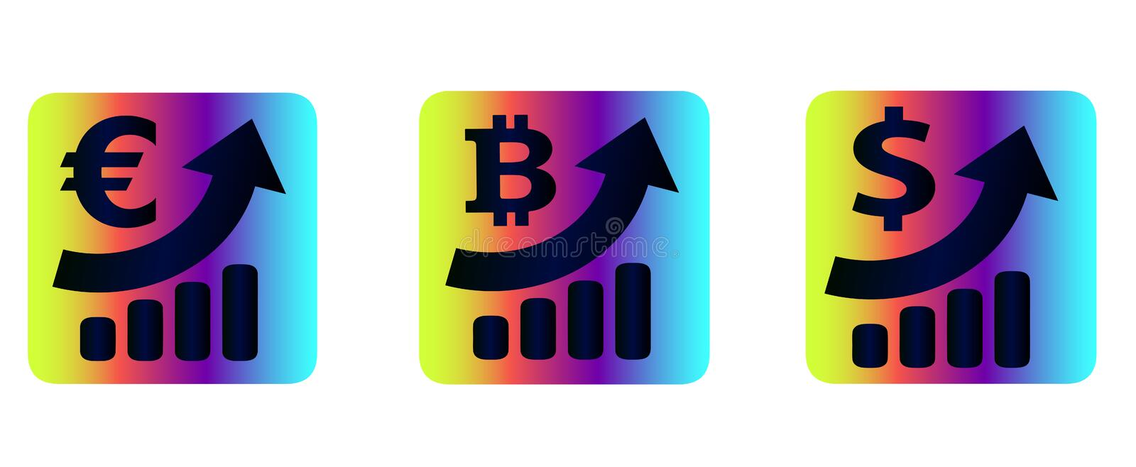 Vector set currency rate collection - iconography, statistics. Vector collection of neon icons of monetary currency: dollar, euro and cryptocurrency bitcoin vector illustration