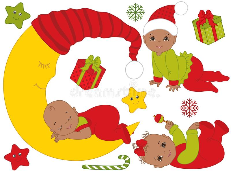 Vector Set of Cute African American Babies Wearing Christmas Clothes stock illustration