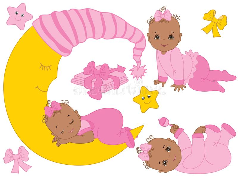 Vector Set with Cute African American Baby Girls, the Moon and Diapers. Vector set with cute African American baby girls, moon, bows, stars and diapers. Vector royalty free illustration