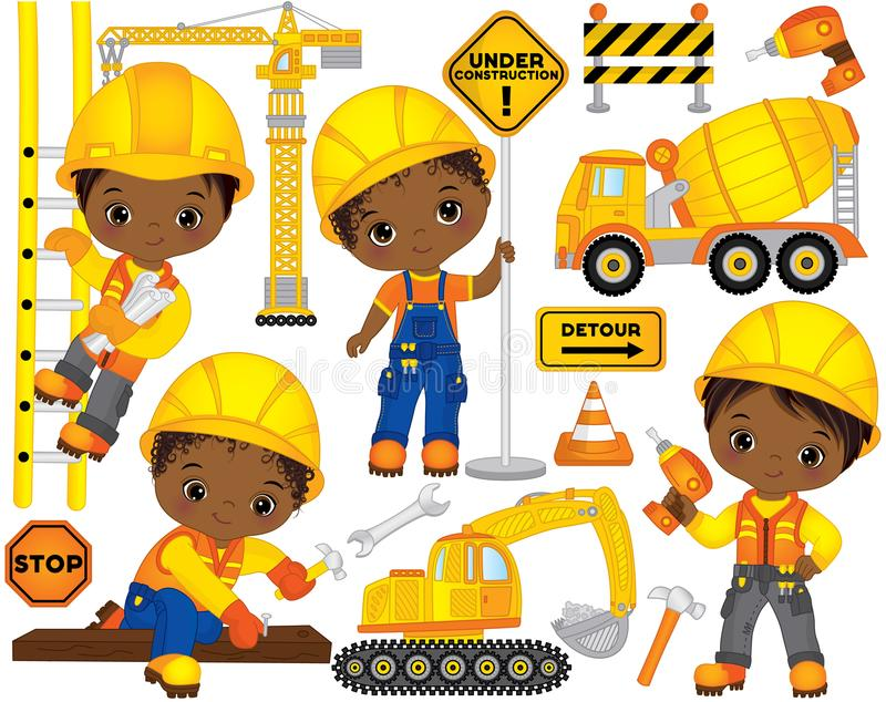 Vector Set with Cute African American Boys Dressed as Little Builders and Construction Transport. Vector construction set. Set includes cute little African vector illustration