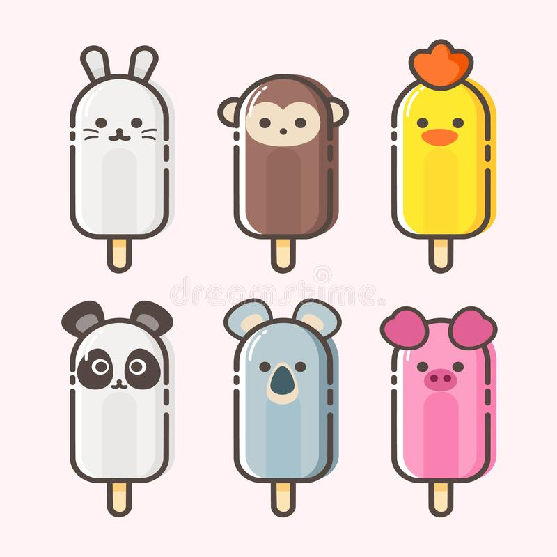 Vector set of Cute animal shaped ice cream. Vector background. royalty free stock photos