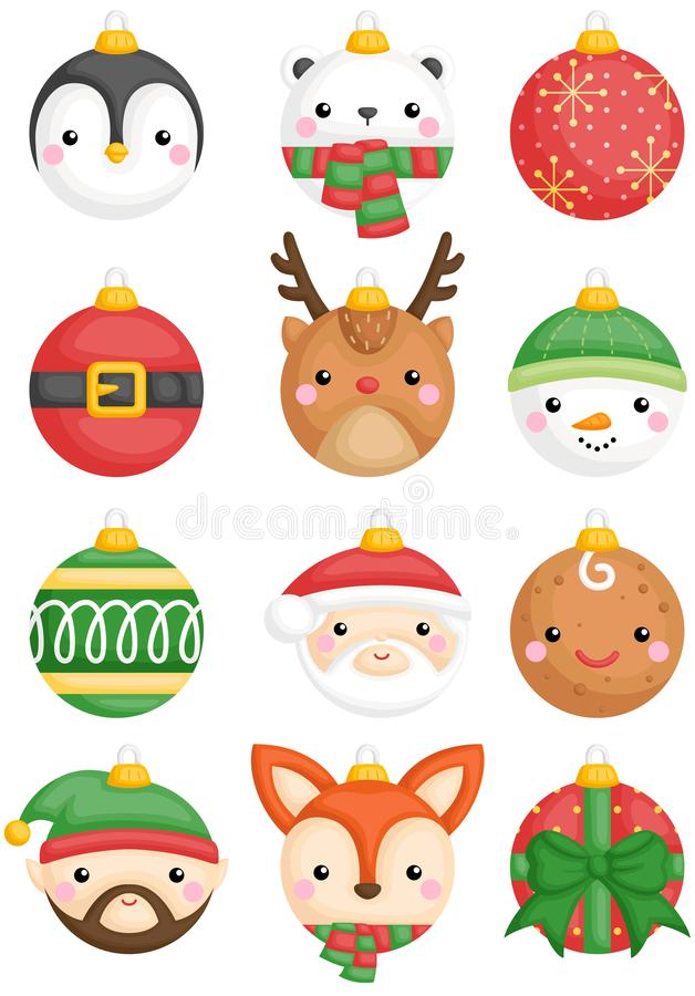 A vector set of cute animals and character christmas balls decoration vector illustration