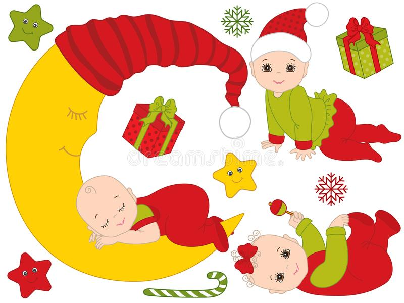 Vector Set of Babies Wearing Christmas Clothes. Vector set of cute babies wearing Christmas bodysuits. Set include baby boy, baby girl, the Moon, stars royalty free illustration