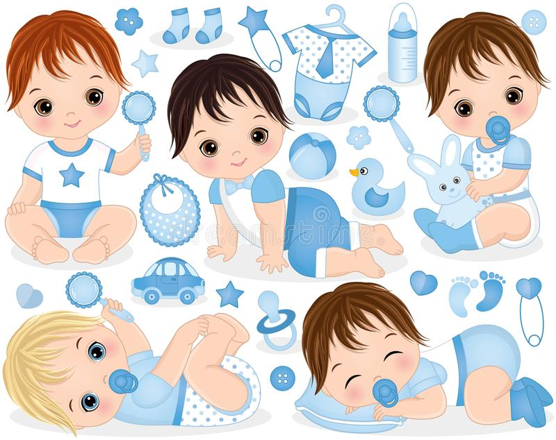 Vector Set for Baby Boy Shower.Vector Baby Boy vector illustration