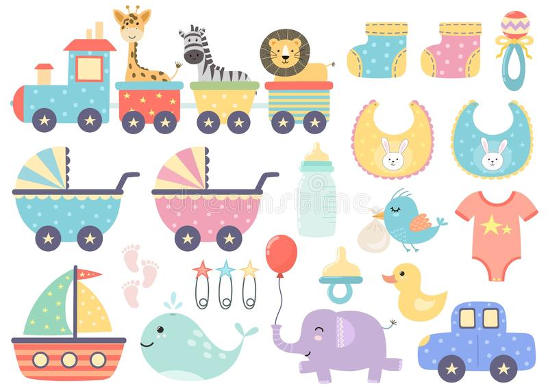 Vector set of cute baby elements vector illustration