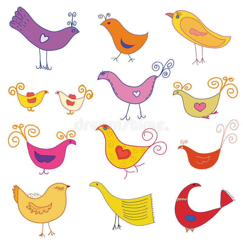 Download Vector set of cute  birds stock vector. Image of drawing - 12681047