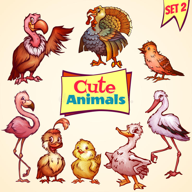 Vector set of cute birds. Turkey, goose, flamingo. And etc vector illustration