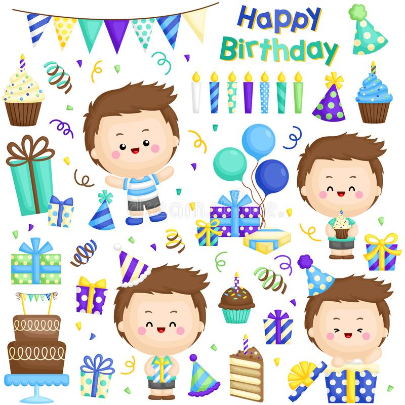 A Vector Set of Cute Boy Celebrating His Birthday with lots of Gifts and Cakes stock illustration