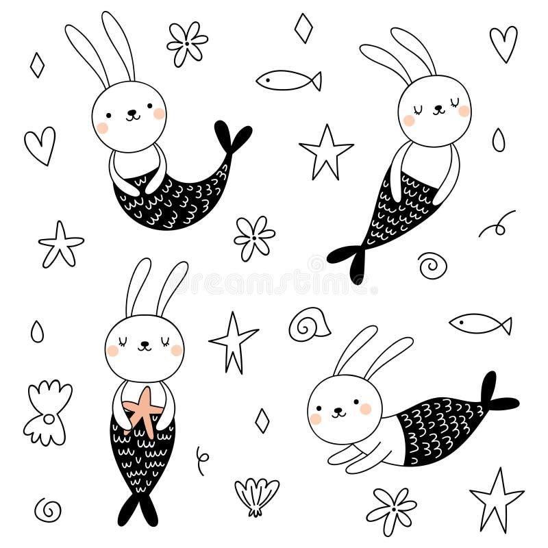 Vector set with cute bunnies mermaids vector illustration