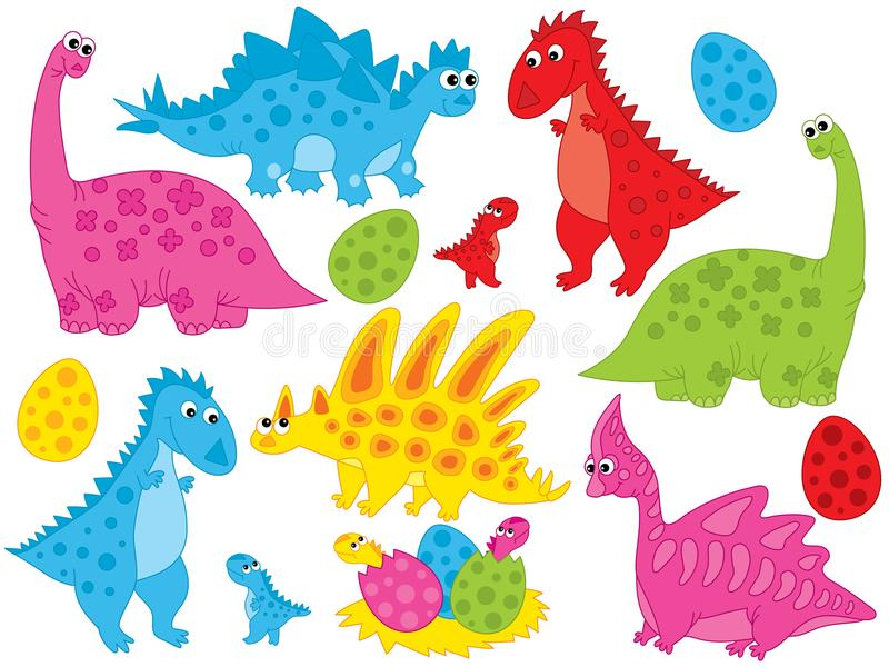 Vector Set of Cute Cartoon Dinosaurs and Eggs. Vector set with cute cartoon dinosaur, eggs and babies hatching. Vector dino. Vector various dinosaurs in stock illustration