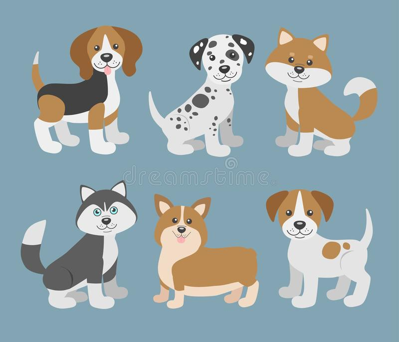 Vector set with cute cartoon dog puppies. Dogs breeds. Beagle, dalmatian, shiba inu, husky, corgi, jack russell terrier vector illustration
