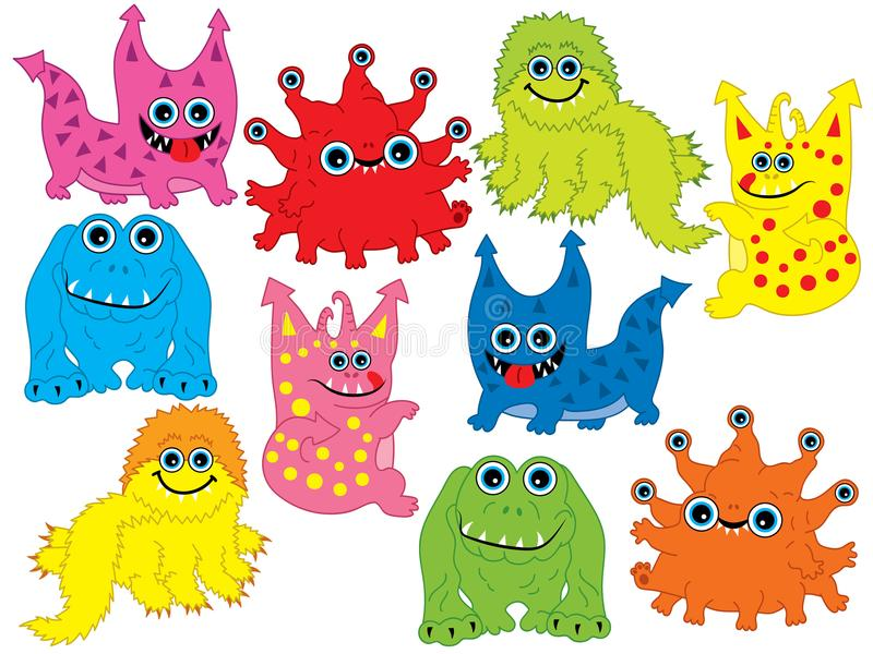 Vector Set of Cute Cartoon Monsters vector illustration