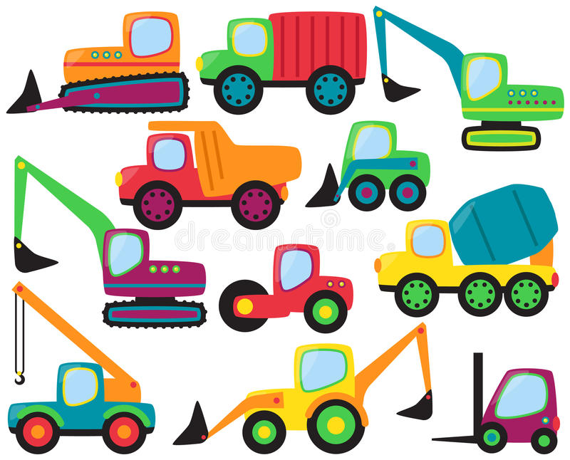 Vector Set of cute Construction Vehicles royalty free illustration