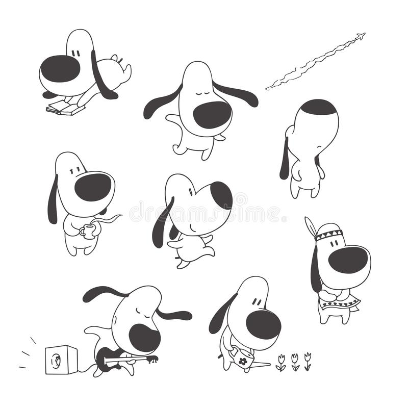 Vector set of cute dogs isolated on white. Hand drawn illustrations of funny animal character in cartoon style. Children`s design vector illustration