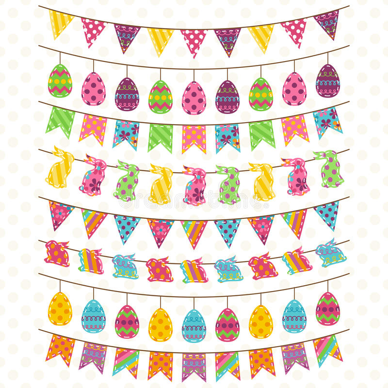 Vector Set of Cute Easter and Spring Themed Bunting stock illustration