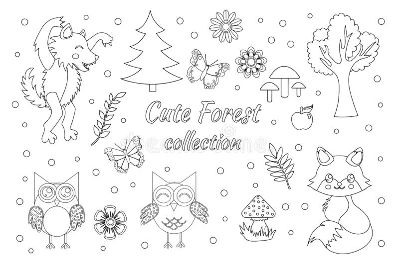 Vector set of cute forest elements sketch outline doodle style. Coloring book page for kids. Woodland animals fox, wolf, owls, royalty free illustration