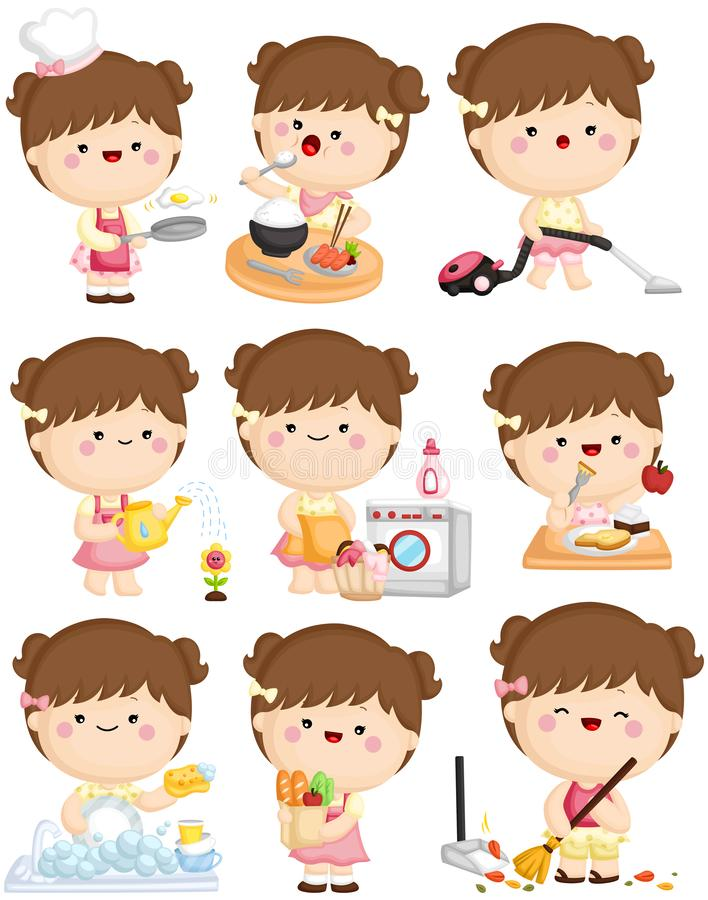 A vector set of cute girl doing her home cleaning activities vector illustration