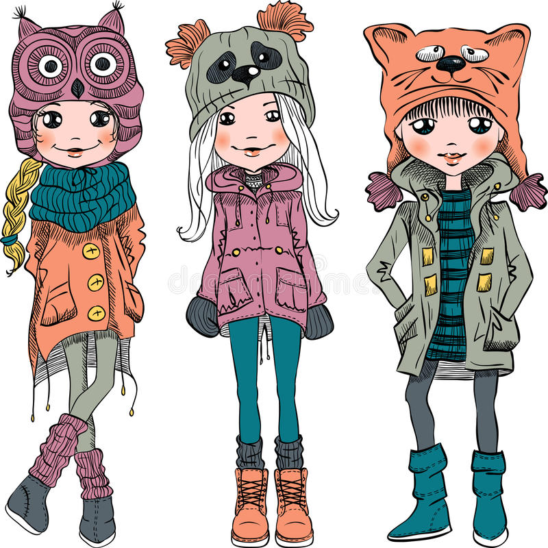 Vector set cute girls in funny hats stock images