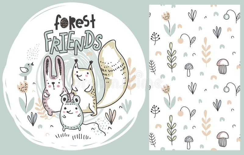 Vector set of cute hand drawn forest animals and seamless pattern royalty free illustration