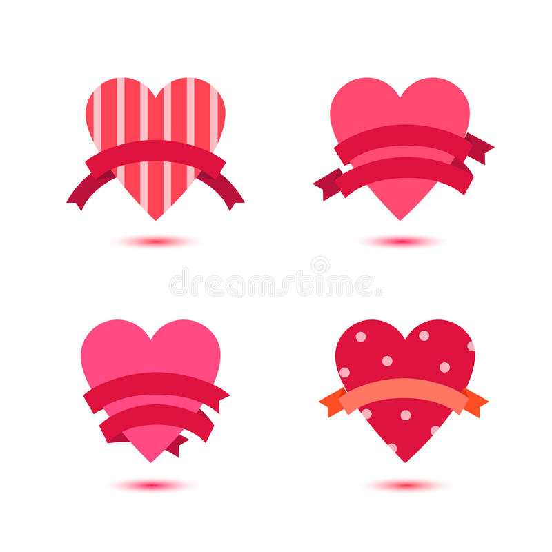 Vector set of cute hearts with ribbons, heart badges, st Valentines icons, ideas. Love, wedding banners royalty free illustration