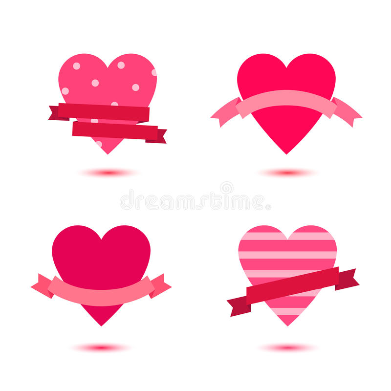 Vector set of cute hearts with ribbons, heart badges, st Valentines icons, ideas. Love, wedding banners stock illustration