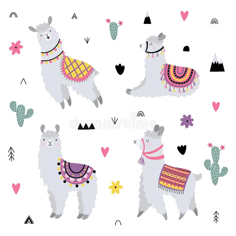Vector set with cute lamas and decorative elements stock photo