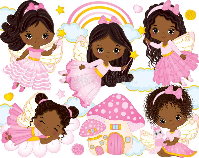 Vector Set with Cute Little African American Fairies and Nature Elements stock illustration