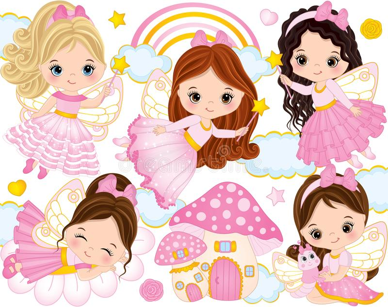Vector Set with Cute Little Fairies and Nature Elements vector illustration