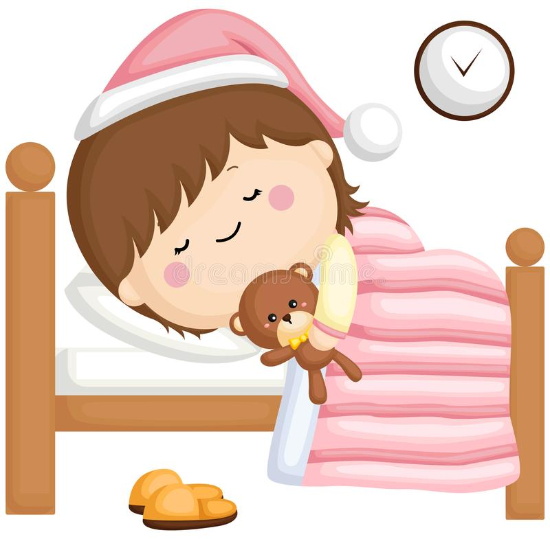 A vector set of a little girl sleeping on her bed at night royalty free illustration