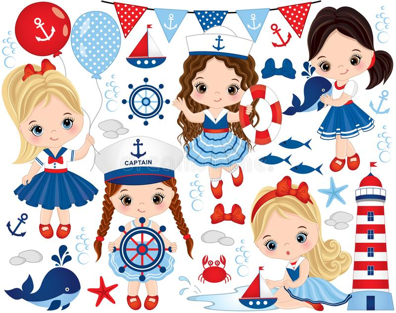 Vector Set with Cute Little Girls Dressed in Nautical Style, Marine Animals and Objects. Vector set with cute little girls dressed in nautical style, whale
